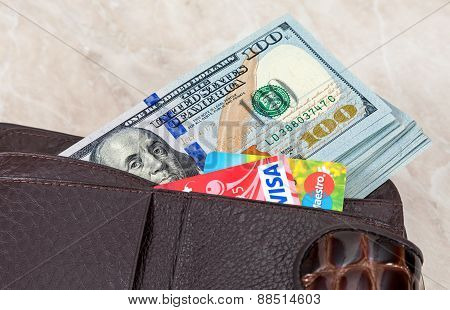 Wallet With American Dollars And Credit Cards