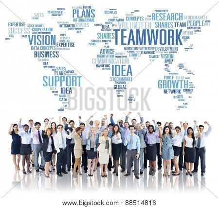 Global Business People Celebration Success Teamwork Concept