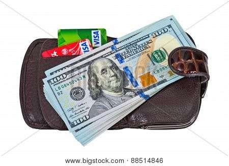 Wallet With American Dollars And Credit Cards, Isolated On White