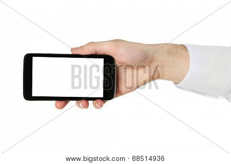 Hand holding mobile smart phone isolated on white