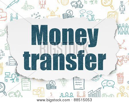 Finance concept: Money Transfer on Torn Paper background