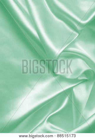 Smooth Elegant Green Silk Or Satin As Background