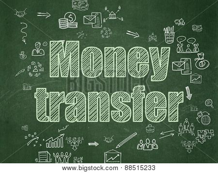 Finance concept: Money Transfer on School Board background