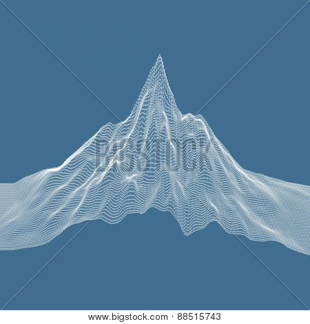 Abstract landscape background. Cyberspace grid. Vector illustration. Can be used for banner, flyer, book cover, poster.