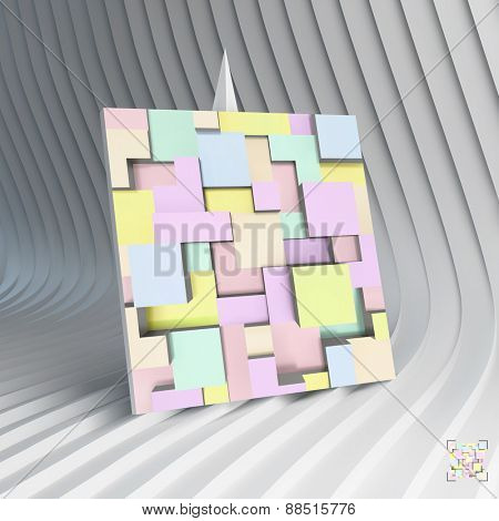 Business card. 3d blocks structure background. Vector illustration. Can be used for advertising, marketing, presentation.