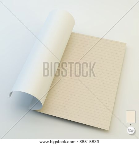 Seamless lined paper. Template for design layout. 3d vector illustration. A4 business blank. Can be used for marketing, website, print, presentation, business concepts.