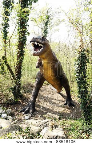 Allosaurus Dinosaur Statue Standing At The Forest