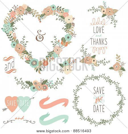 Vintage Wedding Wreath Elements
