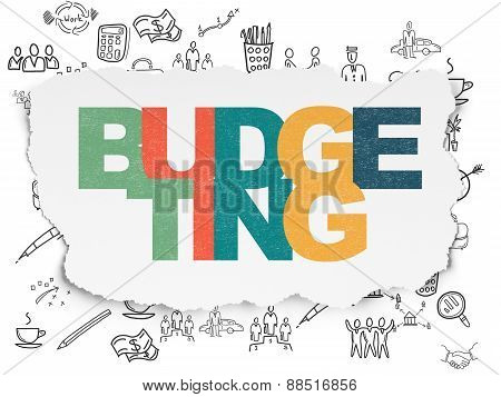Business concept: Budgeting on Torn Paper background