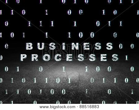 Finance concept: Business Processes in grunge dark room