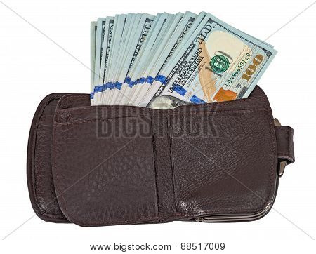 Wallet Open With A Dollar Bill Sticking Out, Isolated On White