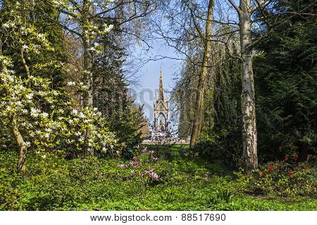 View Of Albert Memorial Through Kensington Gardens In London