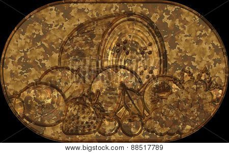 Metal Relief Plate Fruit Symbols