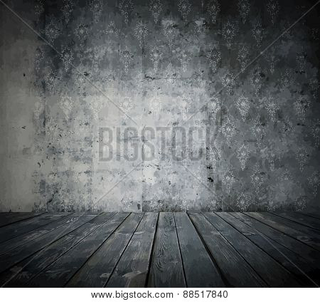old grunge room, black and white retro background