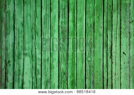 old wooden wall, green background, vector