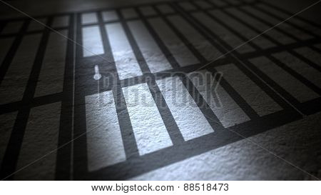 Jail Cells Bars Casting Shadows On Floor.