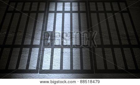 Shadow Of Jail Bars Closing