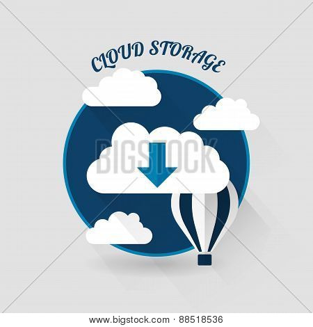 Flat vector design of the cloud storage