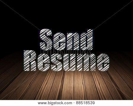 Finance concept: Send Resume in grunge dark room
