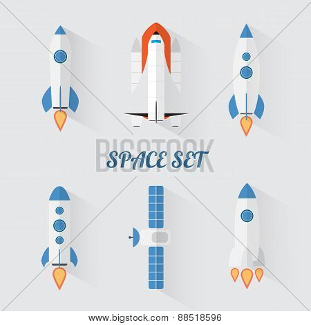Modern flat style set of space rockets