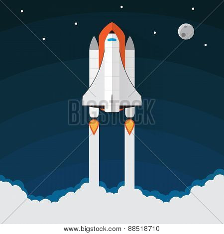 Space Shuttle Launch. Vector illustration