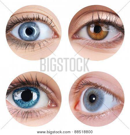 Collage of beautiful female eyes, isolated on white