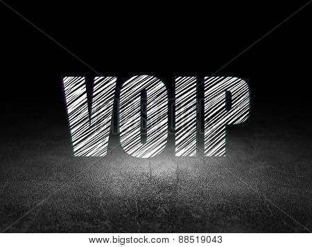 Web development concept: VOIP in grunge dark room