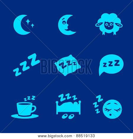 Vector isolated white sleep concept icons set pillow, bed, moon, sheep and zzz