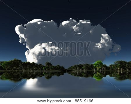 Cloud in distance over water