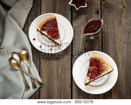 Cheesecake With Cherry Sauce In Vintage Style