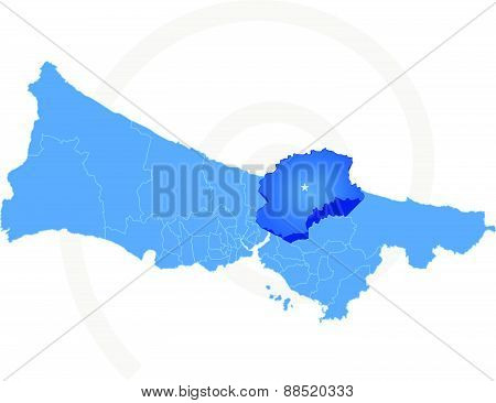 Map Of Istanbul With Each Administrative District Where Beykoz Is Pulled Out