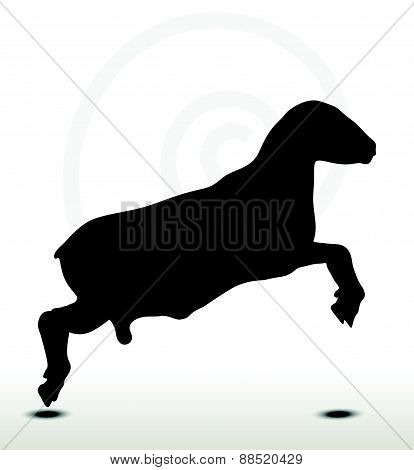 Sheep Silhouette With Jumping Pose