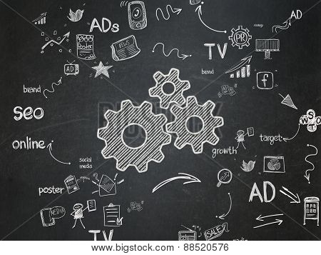 Advertising concept: Gears on School Board background