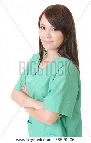 Asian woman of healthcare worker on white background.