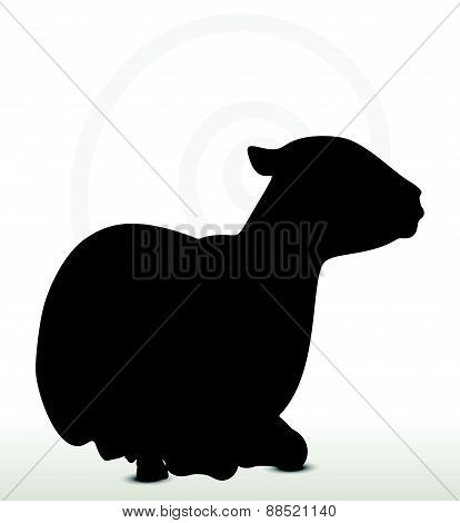 Sheep Silhouette With Laying Pose