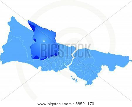 Map Of Istanbul With Each Administrative District Where Arnavutkoy Is Pulled Out