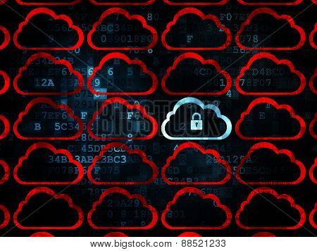 Cloud technology concept: cloud with padlock icon on Digital