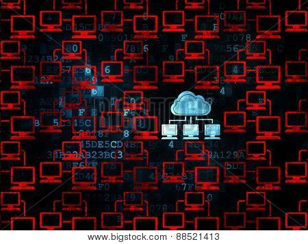 Cloud computing concept: blue cloud network icon on Digital