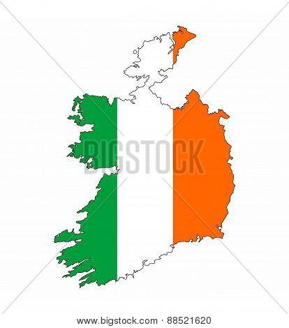 Ireland Flag Map