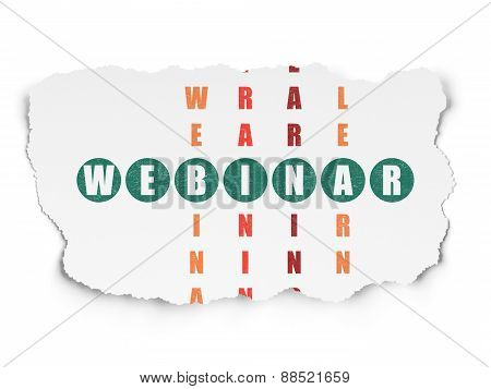 Education concept: word Webinar in solving Crossword Puzzle