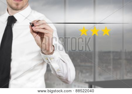 Businessman Pushing Flat Button Three Golden Rating Stars