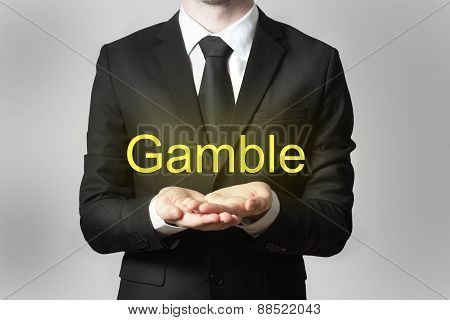 Businessman Begging Gesture Gamble