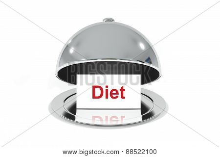 Opened Silver Cloche With White Sign Diet