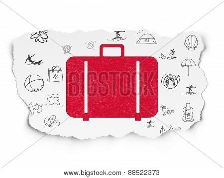 Tourism concept: Bag on Torn Paper background