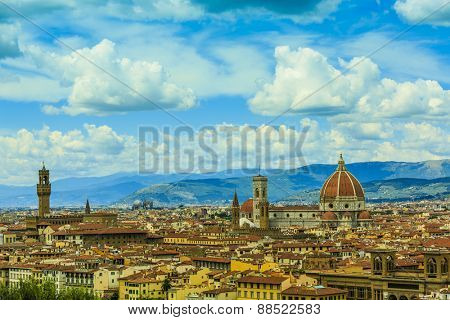 Florence, Italy - view of the city and Cathedral Santa Maria del Fiore