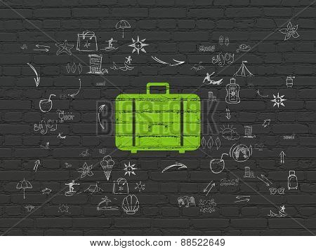 Tourism concept: Bag on wall background