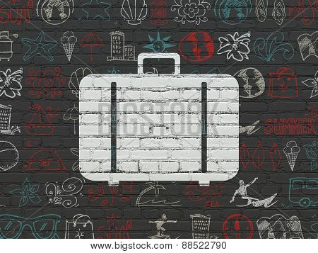 Vacation concept: Bag on wall background