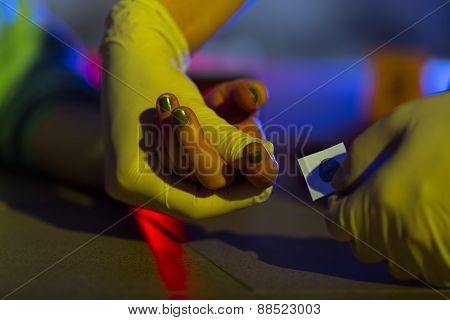Victim Having Taken Fingerprint