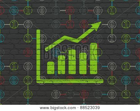 Business concept: Growth Graph on wall background