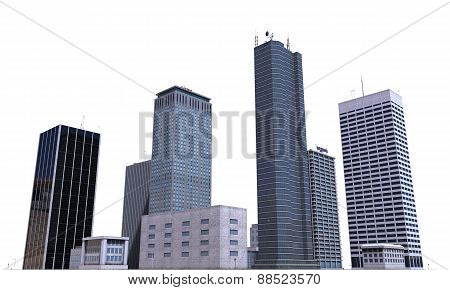 City Buildings Isolated On White